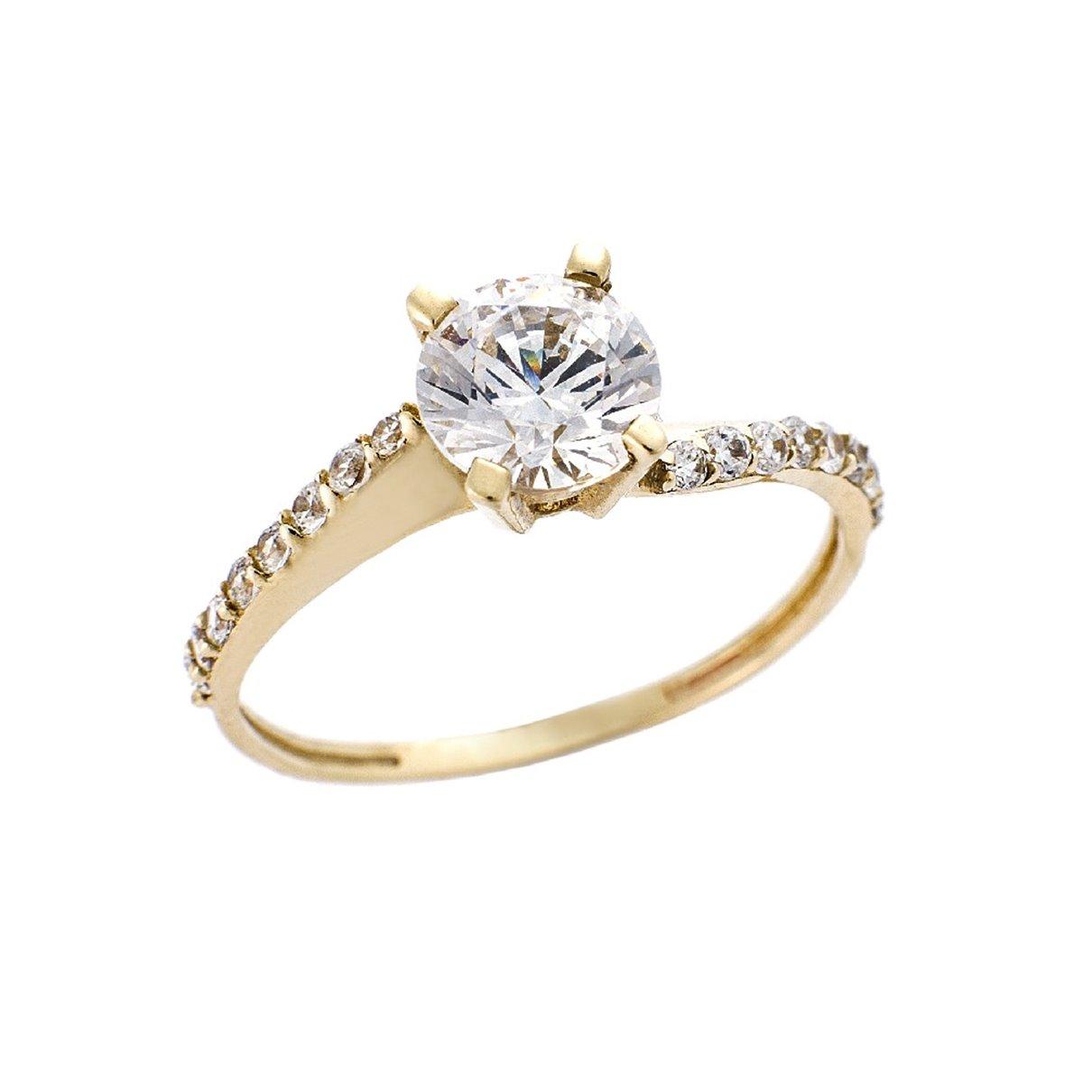 Δαχτυλίδι Μονοπέτρο από Χρυσό 14Κ σε Κίτρινο Χρώμα με Ζιργκόν 84098ee13d4