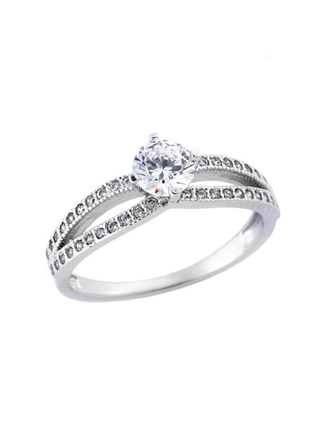 Δαχτυλίδι Γάμου Λευκόχρυσο 14Κ με Ζιργκόν a940c063914